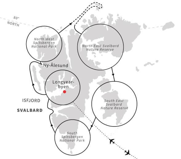 Circumnavigating-Spitsbergen-Map